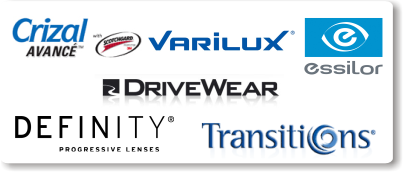 we have special lenses from Varilux, DriveWear, Definity, Transitions, Crizal, and Essilor